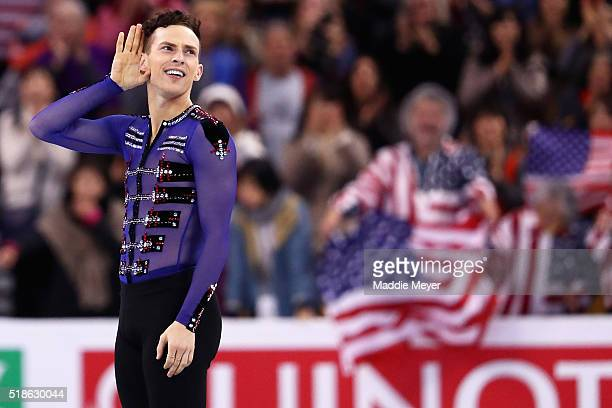 Adam Rippon of the United States celebrates after completing his routine in the Men's Free Skate program during Day 5 of the ISU World Figure Skating...