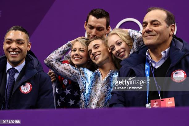 Adam Rippon of the United States celebrates his score in the Figure Skating Team Event – Men's Single Free Skating on day three of the PyeongChang...