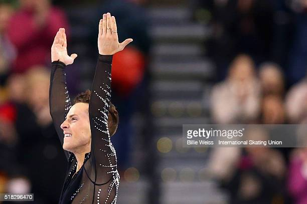 Adam Rippon of the United States competes during Day 3 of the ISU World Figure Skating Championships 2016 at TD Garden on March 30, 2016 in Boston,...