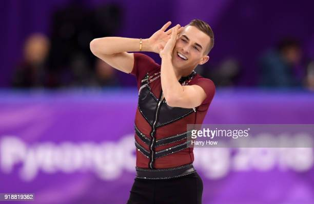 Adam Rippon of the United States competes during the Men's Single Skating Short Program at Gangneung Ice Arena on February 16 2018 in Gangneung South...