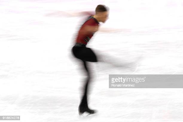 Adam Rippon of the United States competes during the Men's Single Skating Short Program at Gangneung Ice Arena on February 16, 2018 in Gangneung,...