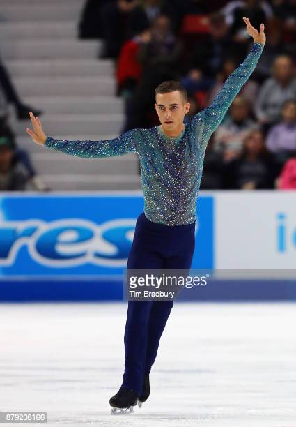 Adam Rippon of the United States competes in the Men's Free Skating during day two of 2017 Bridgestone Skate America at Herb Brooks Arena on November...