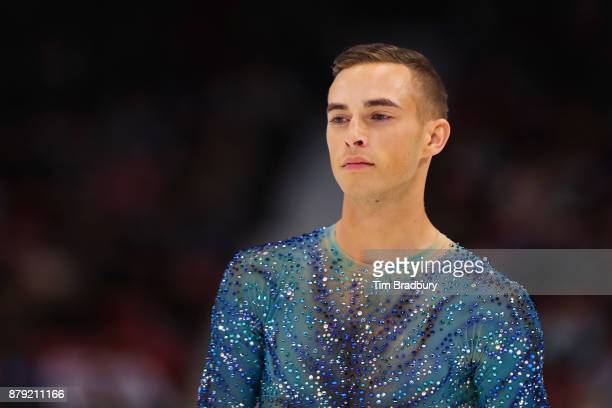 Adam Rippon of the United States looks on prior to competing in the Men's Free Skating during day two of 2017 Bridgestone Skate America at Herb...