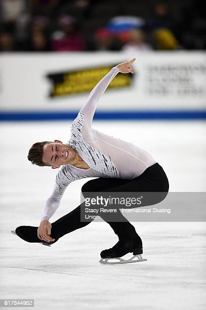 Adam Rippon of the United States performs during the Men's Long Program on day 3 of the Grand Prix of Figure Skating at the Sears Centre Arena on...