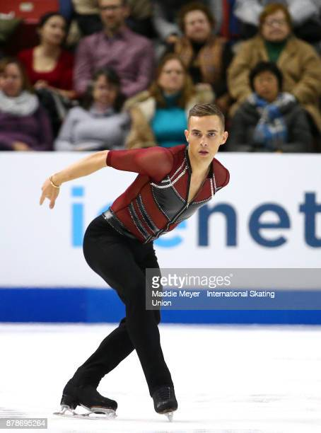 Adam Rippon of the United States performs during the Mens Short program on Day 1 of the ISU Grand Prix of Figure Skating at Herb Brooks Arena on...