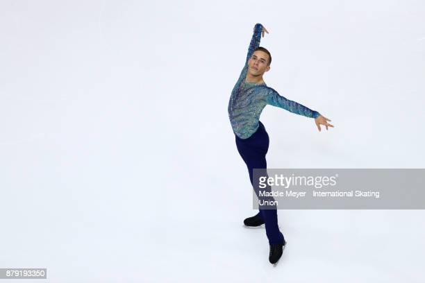 Adam Rippon of the United States performs in the Mens Free Skate program on Day 2 of the ISU Grand Prix of Figure Skating at Herb Brooks Arena on...