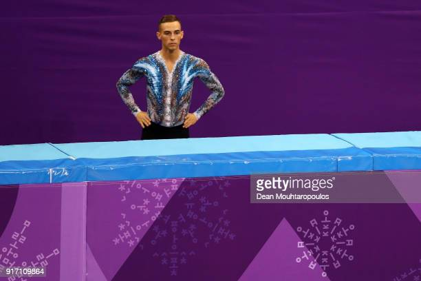 Adam Rippon of the United States prepares to compete in the Figure Skating Team Event – Men's Single Free Skating on day three of the PyeongChang...