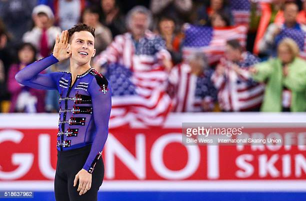 Adam Rippon of the United States reacts after competing during Day 5 of the ISU World Figure Skating Championships 2016 at TD Garden on April 1 2016...