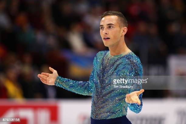 Adam Rippon of the United States reacts after competing in the Men's Free Skating during day two of 2017 Bridgestone Skate America at Herb Brooks...