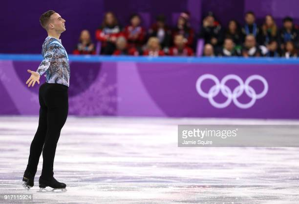 Adam Rippon of the United States reacts after his routine in the Figure Skating Team Event – Men's Single Free Skating on day three of the...