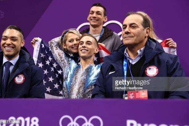 Adam Rippon of the United States reacts to his score in the Figure Skating Team Event – Men's Single Free Skating on day three of the PyeongChang...