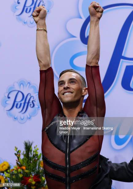 Adam Rippon of the United States reacts to his score in the Mens Short program on Day 1 of the ISU Grand Prix of Figure Skating at Herb Brooks Arena...