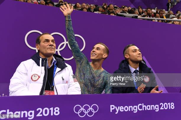 Adam Rippon of the United States reacts with coach Rafael Arutyunyan after competing during the Men's Single Free Program on day eight of the...