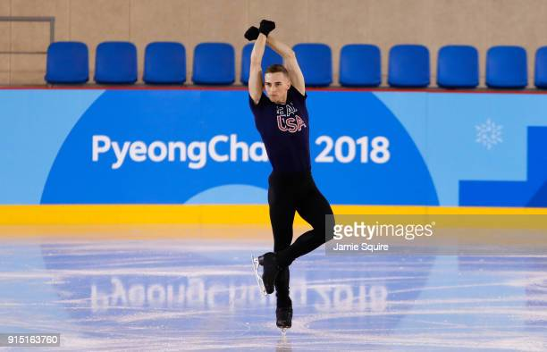 Adam Rippon of The United States trains during Figure Skating practice ahead of the PyeongChang 2018 Winter Olympic Games at Gangneung Ice Arena on...