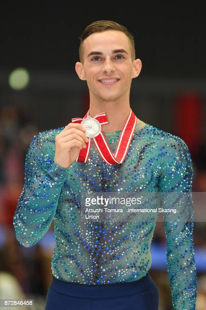 Adam Rippon of the USA pose with his silver medal during the ISU Grand Prix of Figure Skating on November 11 2017 in Osaka Japan