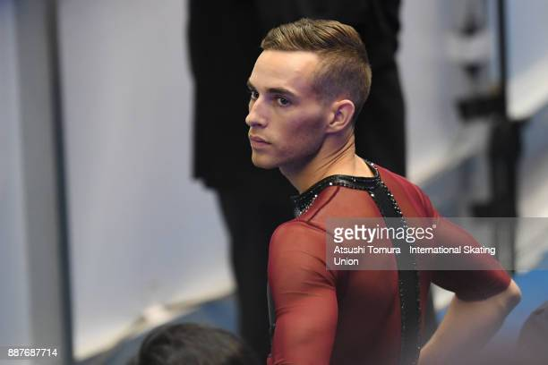 Adam Rippon of the USA prepares to skate before the Men short program during the ISU Junior Senior Grand Prix of Figure Skating Final at Nippon...