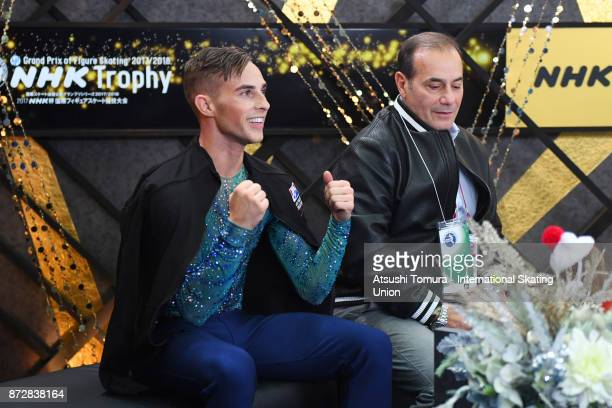 Adam Rippon of the USA reacts after competing at the kiss and cry with his coach during the ISU Grand Prix of Figure Skating at on November 11 2017...