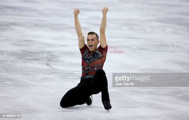 Adam Rippon of USA during the Figure Skating Men Short Program on day seven of the PyeongChang 2018 Winter Olympic Games at Gangneung Ice Arena on...
