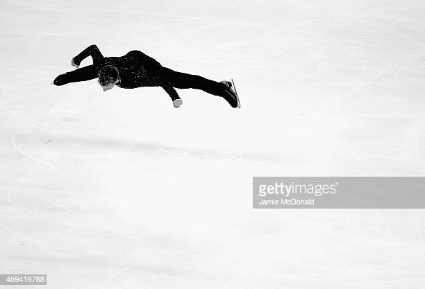Adam Rippon of USA performs during his Mens Free Skate during day two of Trophee Eric Bompard ISU Grand Prix of Figure Skating at the Meriadeck Ice...