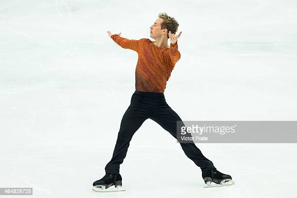 Adam Rippon of USA performs his routine at the Men Free Skating event during the Four Continents Figure Skating Championships on January 24 2014 in...