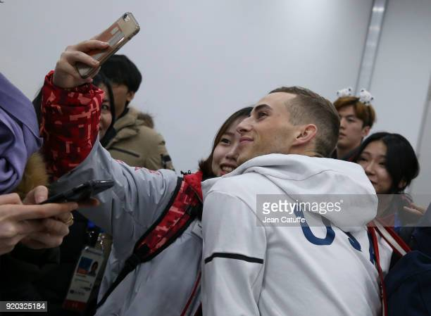 Adam Rippon of USA poses for a selfie following the Figure Skating Men Free Program on day eight of the PyeongChang 2018 Winter Olympic Games at...