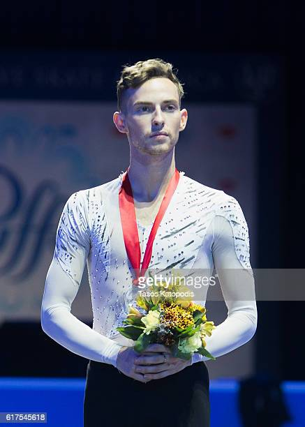 Adam Rippon of USA third place winner in the men skating at 2016 Progressive Skate America at Sears Centre Arena on October 23 2016 in Chicago...