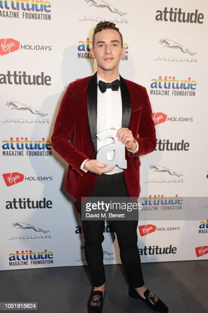 Adam Rippon poses in the winners room at The Virgin Holidays Attitude Awards at The Roundhouse on October 11 2018 in London England