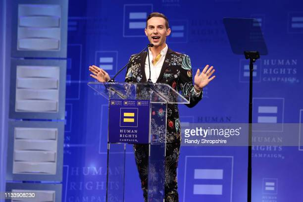 Adam Rippon speaks onstage during The Human Rights Campaign 2019 Los Angeles Gala Dinner at JW Marriott Los Angeles at L.A. LIVE on March 30, 2019 in...