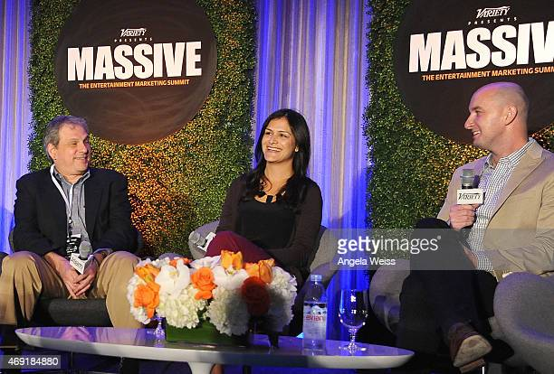 Adam Rockmore of Fandango Sima Sistani of Tumblr and Ged Tarpey of Twitter speak onstage at Variety's Massive The Entertainment Marketing Summit at...