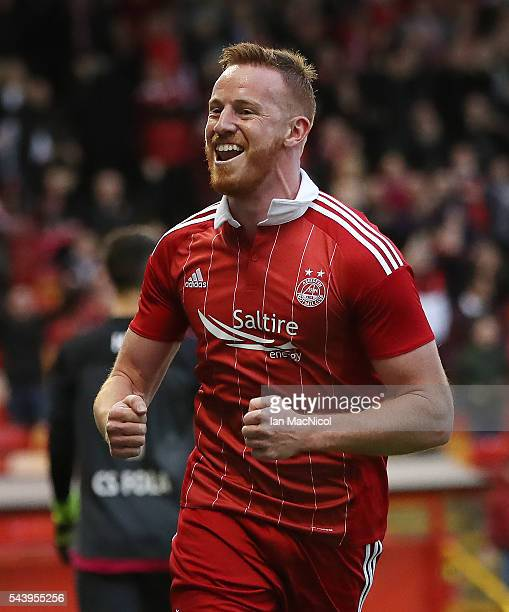 Adam Rooney of Aberdeen celebrates after he scores a penalty during the UEFA Europa League First Qualifying Round First Leg match between Aberdeen...