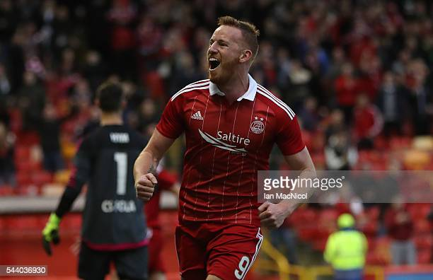 Adam Rooney of Aberdeen celebrates after he scores during the UEFA Europa League First Qualifying Round First Leg match between Aberdeen and CS Fola...