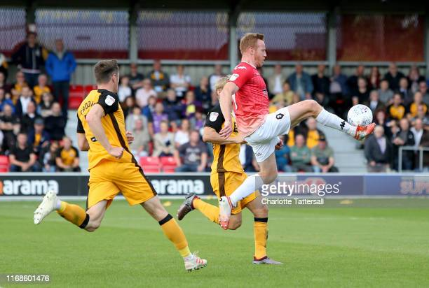 Adam Rooney of Salford jumps to control the ball during the Sky Bet League Two match between Salford City and Port Vale at Moor Lane on August 17...