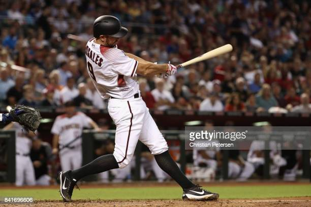 Adam Rosales of the Arizona Diamondbacks bats against the Los Angeles Dodgers during the MLB game at Chase Field on August 30 2017 in Phoenix Arizona