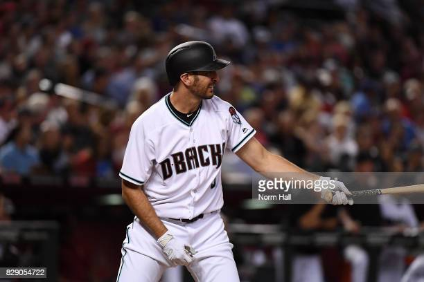 Adam Rosales of the Arizona Diamondbacks gets ready in the batters box against the Los Angeles Dodgers at Chase Field on August 8 2017 in Phoenix...