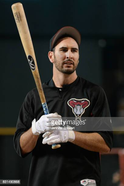 Adam Rosales of the Arizona Diamondbacks warms up during batting practice before the MLB game against the Los Angeles Dodgers at Chase Field on...