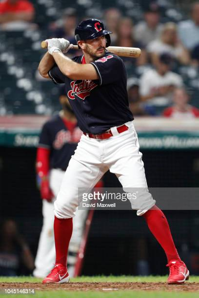 Adam Rosales of the Cleveland Indians bats against the Chicago White Sox in the tenth inning at Progressive Field on September 20 2018 in Cleveland...