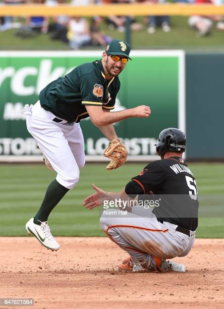 Adam Rosales of the Oakland Athletics attempts to turn a double play as Mac Williamson of the San Francisco Giants slides into second base during the...