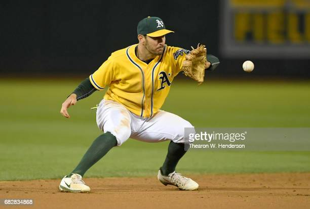 Adam Rosales of the Oakland Athletics in action against the Los Angeles Angels of Anaheim in the top of the ninth inning at Oakland Alameda Coliseum...