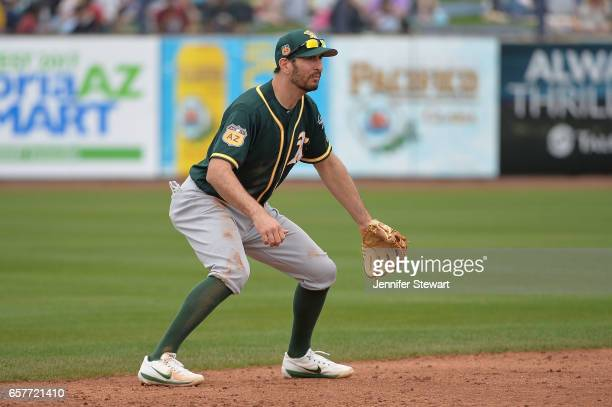 Adam Rosales of the Oakland Athletics in action during the spring training game against the Seattle Mariners at Peoria Stadium on March 5 2017 in...
