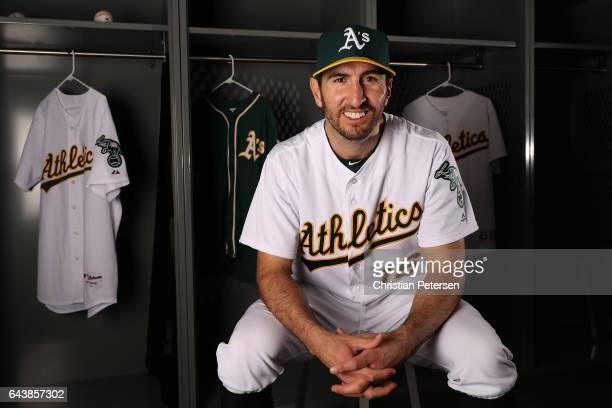Adam Rosales of the Oakland Athletics poses for a portrait during photo day at HoHoKam Stadium on February 22 2017 in Mesa Arizona