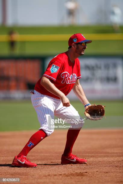 Adam Rosales of the Philadelphia Phillies in action during the Spring Training game against the University of Tampa at Spectrum Field on February 22...