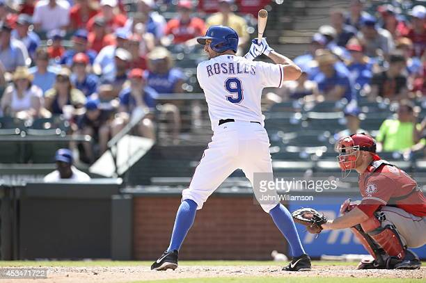 Adam Rosales of the Texas Rangers bats against the Los Angeles Angels of Anaheim at Globe Life Park in Arlington on July 13 2014 in Arlington Texas...