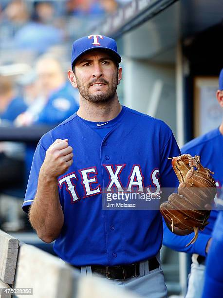 Adam Rosales of the Texas Rangers looks on against the New York Yankees at Yankee Stadium on May 22 2015 in the Bronx borough of New York City The...