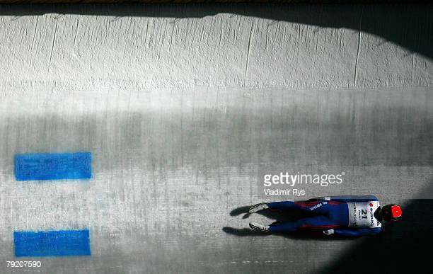 Adam Rosen of Great Britain in action during the men's training session of the 40th Luge World Championships at the Rodelbahn Oberhof on January 25...