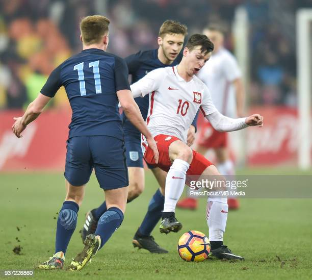 Adam Ryczkowski of Poland controls the ball during the U20 Elite League match between Poland and England at the Municipal Stadium on March 22 2018 in...