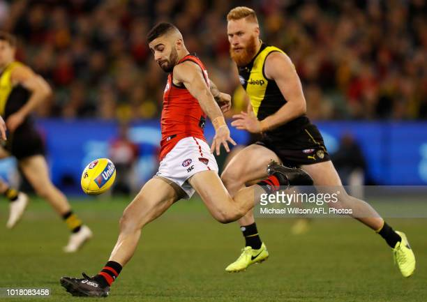 Adam Saad of the Bombers in action during the 2018 AFL round 22 match between the Richmond Tigers and the Essendon Bombers at the Melbourne Cricket...