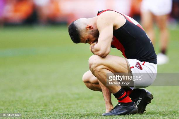 Adam Saad of the Bombers looks dejected after defeat during the round 20 AFL match between the Hawthorn Hawks and the Essendon Bombers at Melbourne...