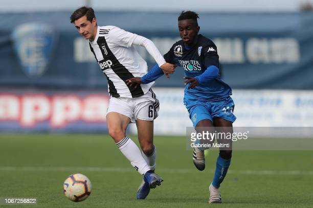 Adam Said of Empoli U19 battles for the ball with Rafael Bandeira of Juventus U19 in action during the match between Empoli U19 and Juventus U19 on...