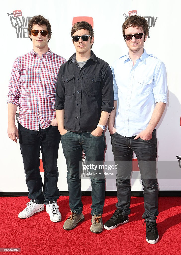 Adam Samberg, Jorma Taccone and Akiva Schaffer attend YouTube Comedy Week Presents 'The Big Live Comedy Show' at Culver Studios on May 19, 2013 in Culver City, California.