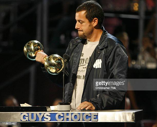 Adam Sandler accepts Guy's Guy award during First Annual Spike TV's Guys Choice Show at Radford Studios in Los Angeles California United States